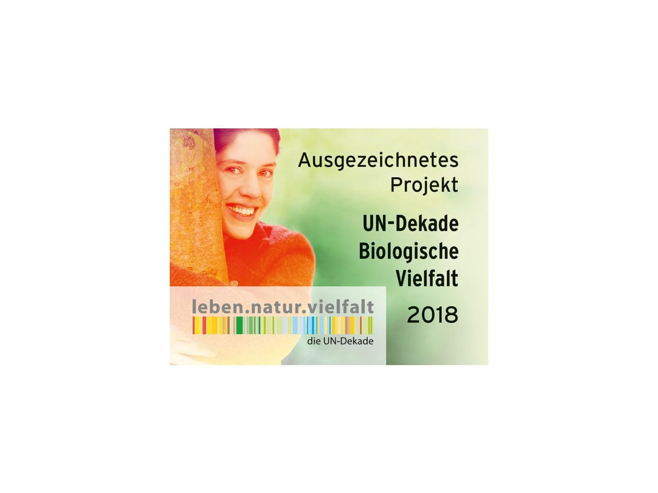 Logo UN-Dekade Biologische Vielfalt Ausgezeichnetes Projekt 2018