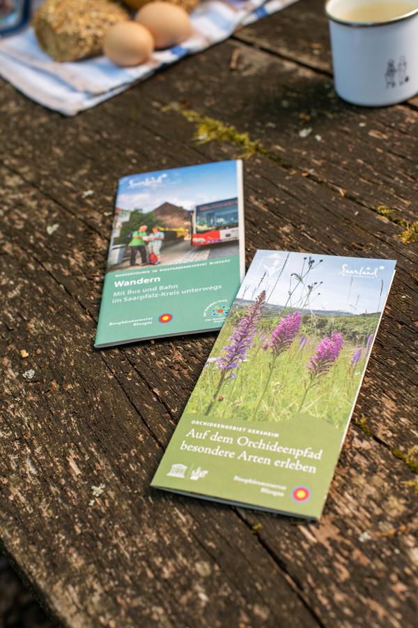 Prospekte zum Wandern im Biosphärenreservat Bliesgau
